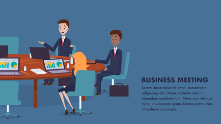 Group People Sitting at Table at Business Meeting. Flat Illustration Banner Man and Woman Use Laptop for Work. Conference Company Employees. Work Space Businessman. Conference Hall Ilustracja