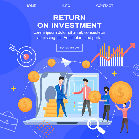Square Flat Banner Return on Investment Depositor. Vector Illustration on Blue Background. Man in Business Suit Collaborates with Man in Fashionable Suit. Financial Portfolio. Goal Achieved. Ilustração