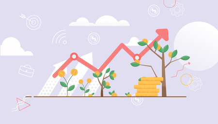 Arrow shows up. Tree Symbol Constant Growth. Cash Investment are Growing. Deposit Bring Interest. Vector Illustration. Financial move Up Profit. Big Profit from Money Invest in Business.