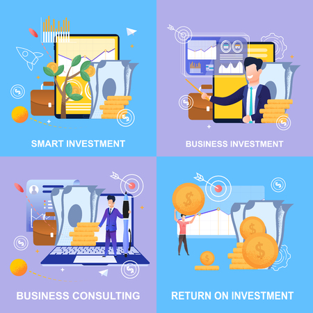 수평 평면 배너 스마트 투자를 설정합니다. 사업 투자. 비즈니스 컨설팅. 투자 수익. 벡터 일러스트 레이 션 색 배경입니다. 관리 및 회계 기업에 대한 지원. 벡터 (일러스트)