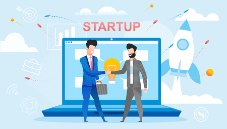 New Startup Deal took Place. Two People Shaking Hands with each other. Men made Contract. New and Creative Ideas from small Companies. Big Businessman makes an Agreement with small Agency.