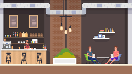 Modern Cafe Interior with Barista in Bar Counter. Happy Guy Company Sitting at Table and Hold Menu. Friends Meeting at Restaurant, Order Cappuchino or Tea and Bakery. People Character Illustration. Illustration
