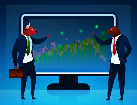 Businessmen, Traders Vector Cartoon Characters. Stock Market, Commerce Concept. Bear Arguing with Bull Flat Illustration. Humanised Animals in Suits on Computer Screen Background. Diagram, Graph