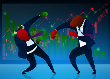 Businessmen, Brokers Vector Cartoon Characters. Stock Market, Trading, Commerce Concept. Bear Beating Bull Flat Illustration. Humanised Animals in Suit, Ties, Boxing Gloves. Diagram, Graph Illustration