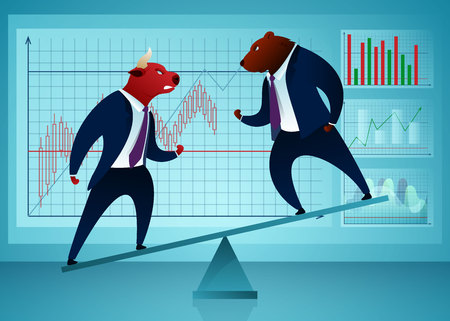 Businessmen, Traders Vector Cartoon Characters. Stock Market, Trading, Manufacturing Concept. Bull Fighting Bear on Seesaw Flat Illustration. Humanised Animals in Suits. Diagram, Graph Stock Illustratie