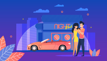 Night Club. Young People have fun Summer Evening. Beautiful Woman and Man attend Night Club. Evening Street big City. Parking Cars near Entertainment venue. Modern red Car with Open Top.