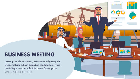 Banner Business Meeting Oil Company Management. Flat Illustration Man Arab Holds Presentation Economic Growth Graph. Guy and Woman are Sitting at Table. Yellow Tanker for Rail Transportation Oil