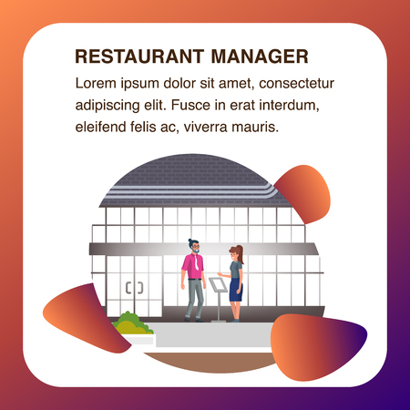 Restaurant Manager Lady Standing in Lobby near Desk with Menu make Assistance in Booking. Young Confident Businessman with Beard in Trousers and Shirt Check Table Reservation. Square Flat Banner.