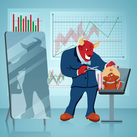 Bull Cutting Hamster Hair Vector Illustration. Hairdresser Parlor. Stock Market, Trading, Manufacturing Concept. Businessman, Investor, Office Worker Flat Cartoon Characters. Diagram, Graph