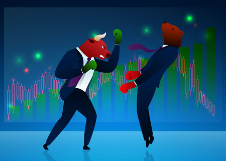 Businessmen, Traders Vector Cartoon Characters. Stock Market, Commerce Concept. Bear Beating, Winning Bull Flat Illustration on Diagram, Graph Background. Humanised Animals in Boxing Gloves Çizim