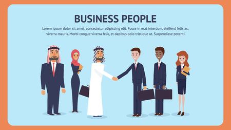 Meeting Business People for Signing an Agreement. Group Man, Woman Business Negotiations. Bearded Arab Man Shaking Hands with Guy in Suit. Signing Lucrative Contract. International Cooperation Company Иллюстрация