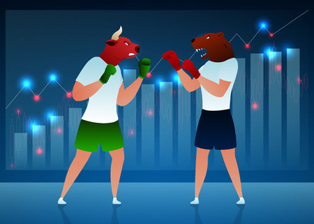 Businessmen, Traders Vector Cartoon Characters. Bull Fighting Bear Flat Illustration. Humanised Animals in Boxing Gloves. Diagram, Graph Background. Stock Market, Manufacturing Concept