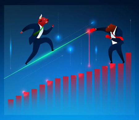 Businessman, Broker, Vector Cartoon Characters. Bull Running, Fighting Bear on Diagram Flat Illustration. Humanised Animals in Suits. Graph Growth. Stock Market, Manufacturing, Commerce Concept