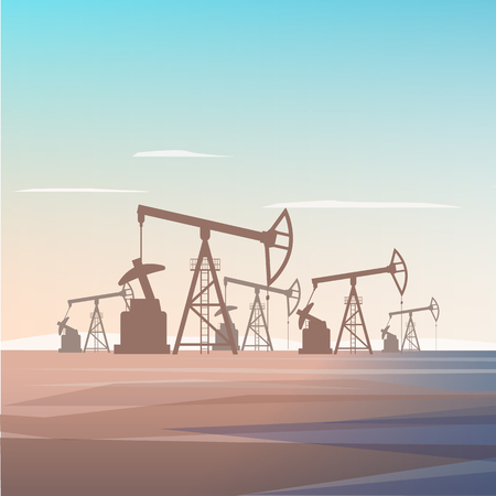 Well Drilling for Oil Extraction from Depths Earth. Flat Vector Illustration Industrial Zone Oil Refinery Company. Business World Corporation. Silhouette Plant on Background Rising Sun in Desert. Çizim