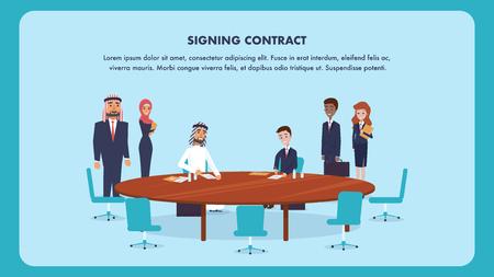 Illustrazione Due uomini firma contratto di cooperazione. Piatto Vector Banner uomo arabo e ragazzo in vestito sedersi al tavolo di legno rotondo. La donna tiene la cartella con il documento. Società di partenariato internazionale.