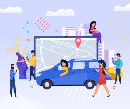 Holen Sie sich Mitreisenden. Companion Road leicht finden. Die Leute nutzen Mobile für Reisen. Männer und Frauen nutzen Smartphone schnell Get Trip. Urban City Map jetzt Tablet. Technologie Wartung Transport.