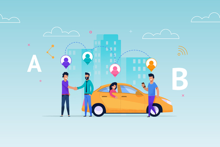 Taxi Carsharing Ride Service. Transport Rent Allocation Layout. Vehicle Pick Up People according Geolocation on Route. Man Client Meet Auto with Girl. Transportation Economy Information.