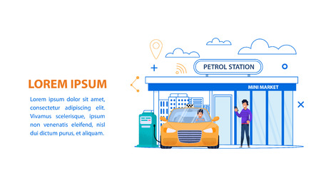 Petrol Station Line Illustration. Yellow Taxi with Driver Refill Car. Fuel Service and Shop in Urban Cityscape. Automobile Gasoline Power Flat Banner. Gas Filling Industry Vector Landing Page.