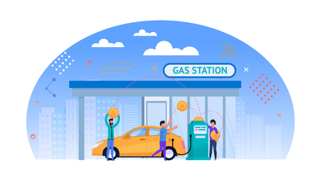 Gas Station Flat Illustration. Money for Fuel. Yellow Car Refuel Outdoors. Man Person Character Work with Gasoline Pump near Cityscape. Biofuel Energy Economy. Road Automobile Oil Service. Illustration