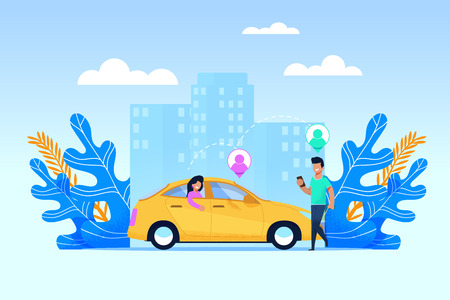 Carpool Transport Service. Collaborative Transport Usage with Modern Mobile Application. Wooman in Back Sit Meet Man with Smartphone. Transit Geolocation Point Infographic. Yellow Car at Cityscape.