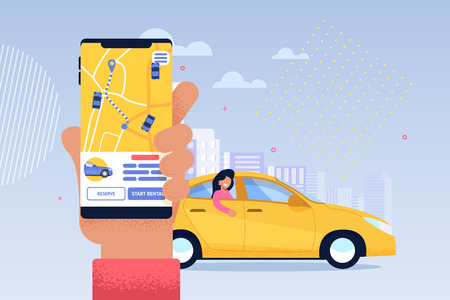 Online Taxi Service Application. Transport Sharing. Carpool Route in Screen of Mobile Phone with Geolocation of Automobile. Passenger Waiting Driver to Pick him Up. Online Order Point. 向量圖像