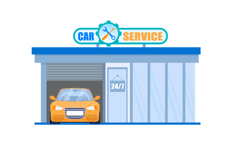 Car Service Garage. Maintenance 24 Hour Machine Check and Fix Station. Vehicle Repair Company Building with Yellow Car in it. Simple Steering and Transmission Diagnostic. Quality Tuning. Illustration