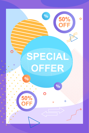 Special Offer 50 Percent. Advertising Campaign Flyer. Modern Technology and Marketing Retail. Cumulative Discounts Shopping Supermarket. Modern People collect Discount Coupons Stores.