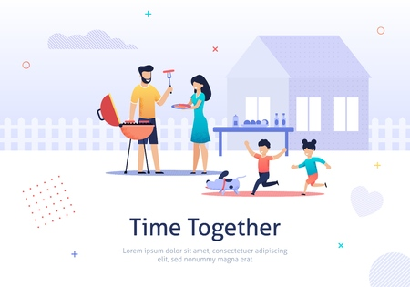 Family Weekend Together banner. Parents and Children have Barbecue Time Vector Illustration in Flat Style. Children Running with Dog. Father Grilling Sausages near House. Boy and Girl playing.