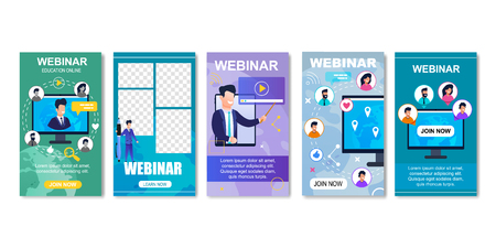 Online Education, Internet Webinar for Students Templates for Social Media. Video Training Vector Illustration. Lectures Given by Lecturers Using Laptop or Computer. Join Us. Web Based Seminar.