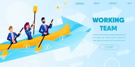 Business Team Working Together Rowing Boat Across Ocean along with Arrow Growing Up. Team Working People Characters Floating to Success Metaphor. Cartoon Flat Vector Illustration. Horizontal Banner