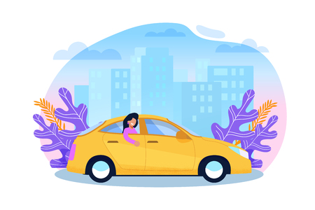 Yellow Cab Service. Woman Tourist in Sedan Cartoon Illustration in Trend Color. Urban Carpool Transportation. Passenger in Back Sit of Taxi. Business Town Building Sityscape. Flat Character Flyer.