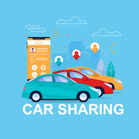 Car Sharing Online. Automobile Transport Rent App. Vehicle on Cityscape and Client Cell Phone with Reservation Interface Design Concept. Geo Point Pictogram With People. Taxi on City Layout.