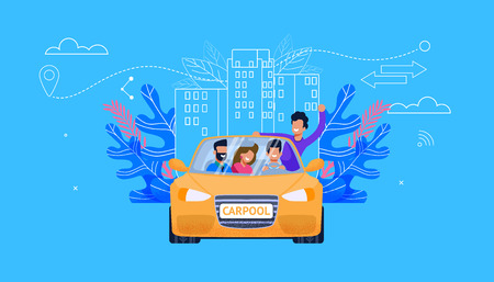 Carpool Service Flat Vector. Car with Young People: Man and Woman Fellow Character in Yellow Car have Fun in Ride. Carsharing Traveling Technology. Vehicle Cooperation for Adventure. Vetores