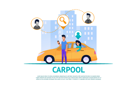 Carpool Service Flat Illustration. Route and Trafic Cooperation. Yellow Car with Girl on Back Seat. Sustainable Client Traffic. Square Banner. Mobility Social Service Concept. Taxi Vehicle Rent.