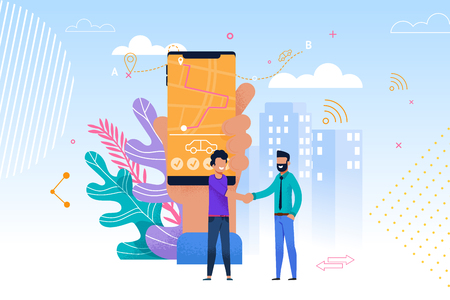 Carpoolservice mobiele app. Vlakke afbeelding van twee mannen handdruk, staan en praten. Hand met slimme telefoon en route op het scherm. Moderne reissamenwerking. Stadsvervoerstechnologie.