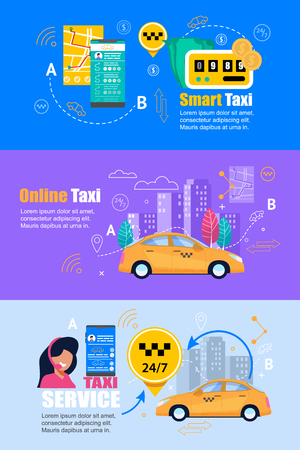 Taxi Online Smart Service. Flat Web Banner Set. Horisontal Page with Yellow Car, Simple Outline Cityscape, Operator with Online Application at Smartphone. Transfer Price on Taximeter. Vektorové ilustrace