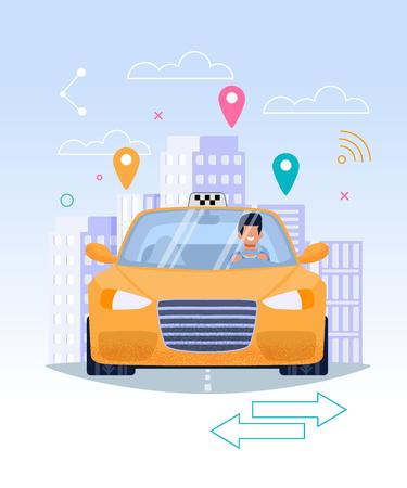 Conductor de taxi en taxi amarillo. Ilustración plana. Profesión de chofer comercial de automóviles. Automóvil sedán en la calle en el paisaje urbano. Negocio de transporte en la ciudad. Geolocalización del edificio de clientes.