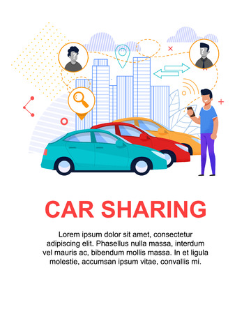 Car Sharing Flat Illustration. Transport Rent and Reservation Poster. Men Carpool via Cell Phone Reservation. Client Character Choice Vehicle Online for Travel. Cityscape Layout for Web. Modern Book.