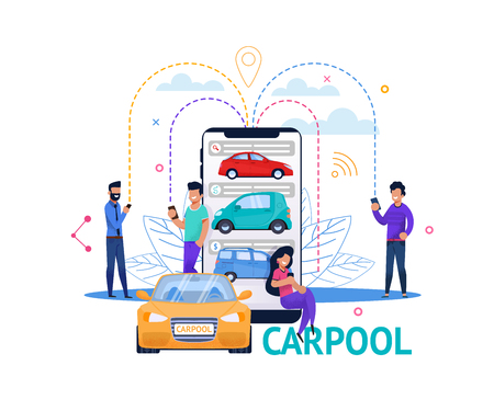 Carpool App Mobile Search. Young Guy and Girl People Character Plan Economy Ride. Smartphone Connect, Car Search and Communication. Cartoon Flat Banner. Carsharing Transport Technology.