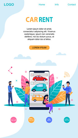 Car Rent Mobile Page Layout with Memphis Symbol. Flat App Template. Vehicle Sharing and Pooling Service Company Vector Website. Customer Driving Ownership. Happy Man and Girl Character.