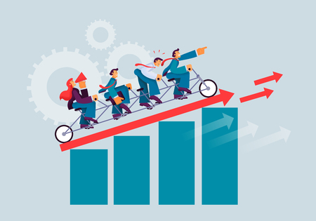 Successful Business Activity Team Entrepreneurs. Flat Vector Illustration on Colored Background Men and Women in Business Suits Strive Up Graphical Diagram and Red Arrows on Shared Bike.