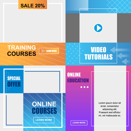 Flat Banner Training Online, Courses Education, Video Tutorials. Vector Illustration on Colored Background Special Offer Sale 20 Percent. Seasonal Sale Cumulative Skid for Educational Courses.