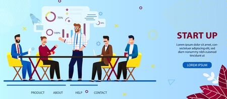 Office Work and Startup Development. Business People Team Working on Start Up Technology. Men Discussing on Creating New Project Sitting at Desk. Cartoon Flat Vector Illustration. Horizontal Banner