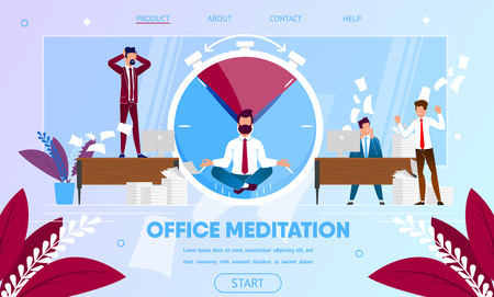 Businessman Meditating, Practicing Yoga Meditation at Workplace Sitting in Lotus Pose in Middle of Noisy Office with Busty and Hurrying Colleagues. Cartoon Flat Vector Illustration. Horizontal Banner  イラスト・ベクター素材