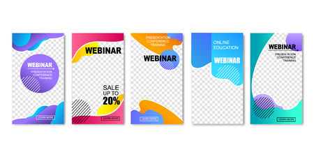 Online Education Set of Templates for Social Media. Webinar, Internet Training Banners. Presentation, Conference for Distant Students. Sale and Discounts for Courses. E-learning with Technologies. Illustration