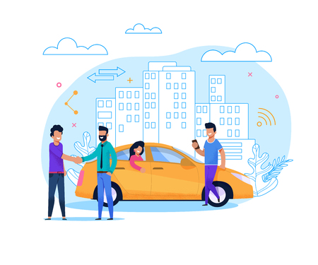 Yellow Uber Taxi Share. Businessman Order Vehicle on Street by Smartphone App. Modern Transport Rent and Carsharing for People. Man Character at Urban Cityscape. Flat Illustration. Stock Illustratie