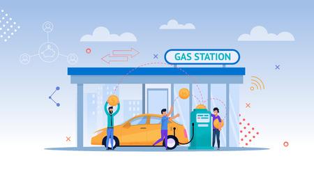 Illustrazione del fumetto della stazione di servizio. Ricarica di petrolio per auto. Consumatore conducente su strada con paesaggio urbano effettua il pagamento per benzina o petrolio. Modern Energy Economy di Fill Up Biofuel o Diesel. Vettoriali