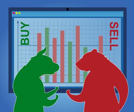 Business Trader Caractère Bear Sell et Bull Buy. Marché boursier mondial Forex Trading Argent mondial. Les gens financent une croissance de données optimiste. Cours économique pessimiste Cartoon Vector Illustration