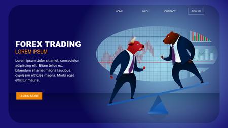 World Stock Market Forex Trading Global Money. Finance Optimistic Data Growth. Animal Bull Fighting Bear. Business Brokerage have Commerce Trade Investment Cartoon Vector Illustration Ilustração