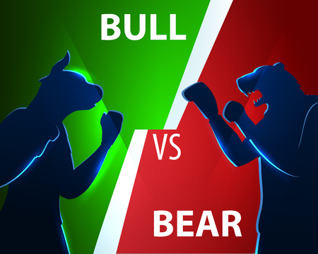 Battle Character Trader Concept Bear and Bull. People Buy Insider Finance Strategy and Loss Money. Businessman Trading Forex Stock Market. Change Winner Course Cartoon Vector Illustration 일러스트